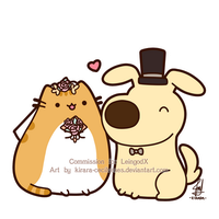 Commission - Pusheen and Battle Dog by Kirara-CecilVenes