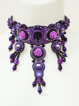 Black and purple goth choker by Priscillascreations