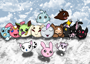 Babies of Digimon Coded playing in the snow by RedViolentLove