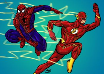 Spider-Man and Flash by guygar79