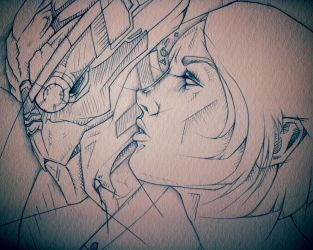 Vree and Garrus by CuriousCanvas