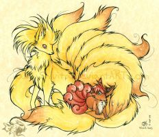 Ninetales and Vulpix by Shivita