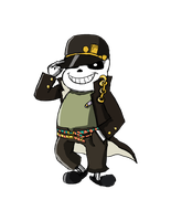 Sans dressed as Jotaro Kujo by silverfan24