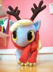Large Winter Derpy w/ antler and bell scarf by happybunny86