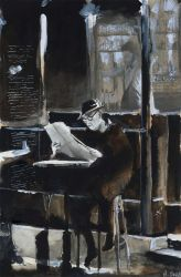 For sale original - The old man with newspaper by nicolasjolly
