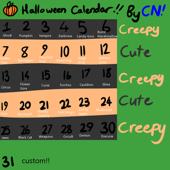 HALLOWEEN ADOPT CALENDAR (24/31) (OPEN) by cloudny4n