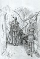 Drizzt meets Catti-brie by DarkFalcon-Z