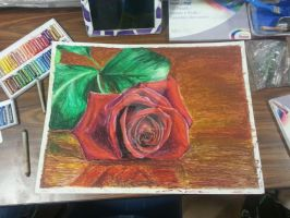 Oil Pastel Rose by reptileprincess