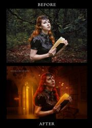 A night in a Library before after by ektapinki
