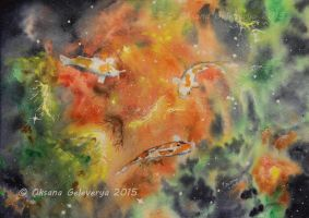 Three Koi Nebula - Watercolor by Oksana007