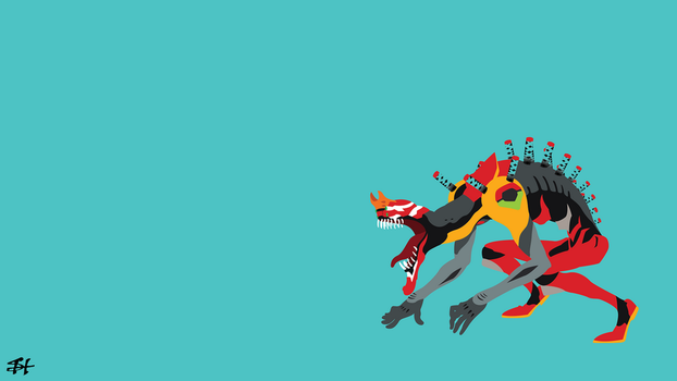 Eva-2 Beast Mode (Evangelion) Minimalist Wallpaper by slezzy7