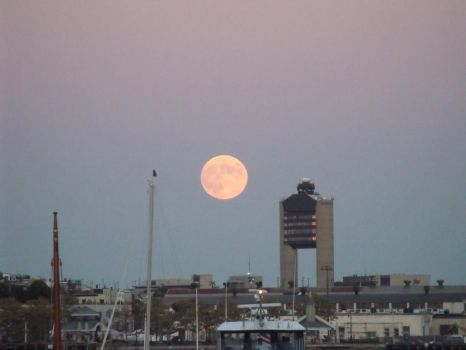 moon over boston harbor 10/18/2013 by Fluff-E-Kitty