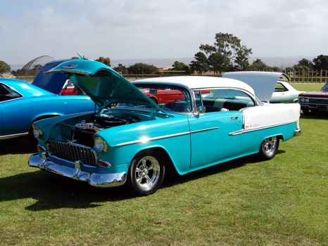 aqua 1955 Chevy Coupe no post by Partywave