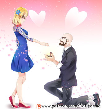 Commission: Anime Proposal portrait for Our friend by Catifornia