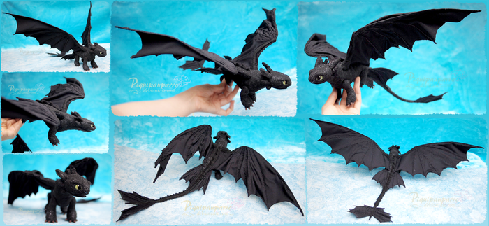 Toothless the Night Fury - Felt Art Doll by Piquipauparro