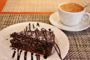 Chocolate cake and coffee by Pajunen