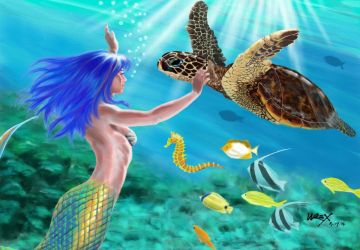 Mermaid and Honu by wrexjapan