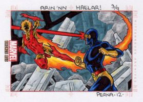Starbolt vs Cyclops - Marvel Bronze Age by tonyperna