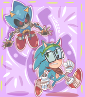 Metal Sonic quit chasing hipster Sonic! by chibiirose