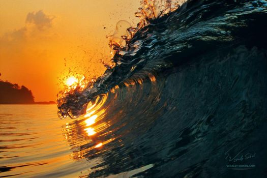 Ocean surfing wave at sunset time by Vitaly-Sokol