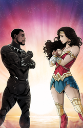 Black Panther and Wonder Woman Empowering Heroes by LucianoVecchio