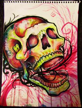 abstract color skull by GracyG89