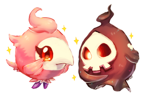 pokemon -- spritzee and duskull by onisuu