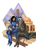 {Fan-Art] Pharah and Ana by SlothyAmphawa