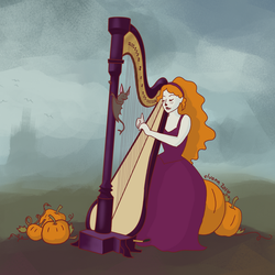 The Pumpkin Harpist by Elvann
