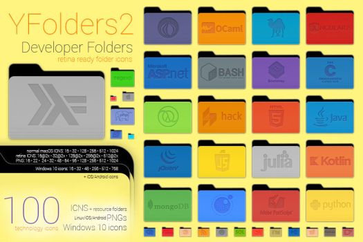 Yfolders2 Developer Pack1 / PNG (Lin./iOS/Android) by kgyt