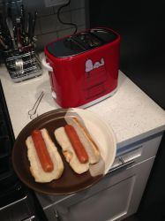 Snoopy Hot Dog Toaster with 2 toasted hot dogs by dth1971