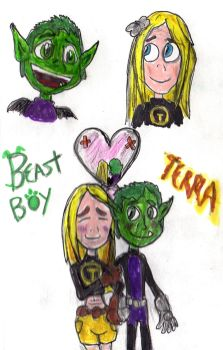 Teen Titans: Beast Boy and Terra by SonicClone