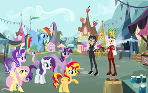 Bayonetta and Jeanne in ponyville by user15432