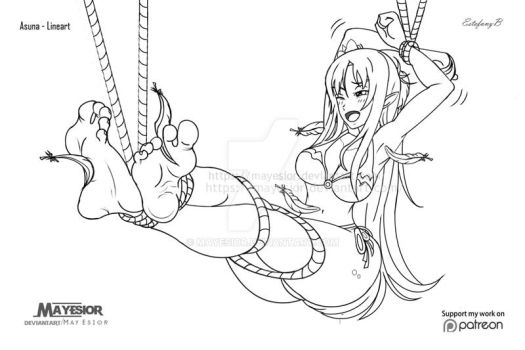 Asuna Tickles - Commission Lineart~ by MayEsior
