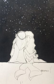 .:Inktober - Stargazing:. by CloudyCaelum