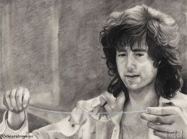 Jimmy Page looking the guitar string by DrawnByYou