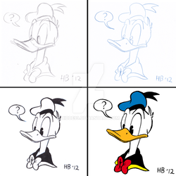 step by step drawing Donald Duck by Hidde99