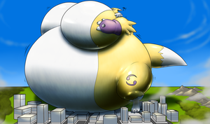 Giant Blimp Renamon by RickyDemont