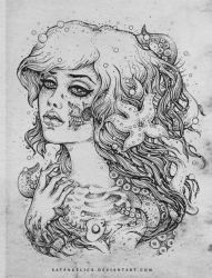 another zombie T-shirt design BW sketch by Satangelica
