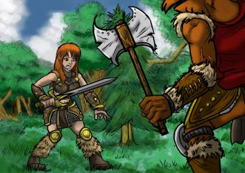 Art Trade: Barbarian Warrior VS Beastman by MikeOrion