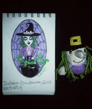 Inktober - Drawlloween / day 9: witch by Frankienstein