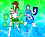 Strongest Green and Goddess Blue by LeoStar0012