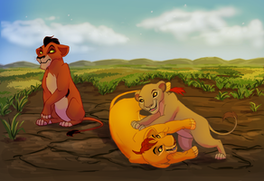 Cub Mufasa, Scar and Sarabi by blueiceflower