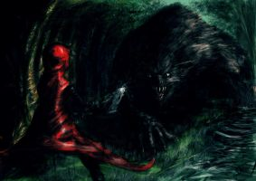 little red fights the wolf by devilman27