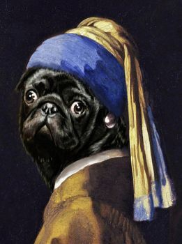 Pug with a Pearl Earring by Meljona