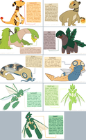 ampharos, tropius, dunsparce, scyther subspecies