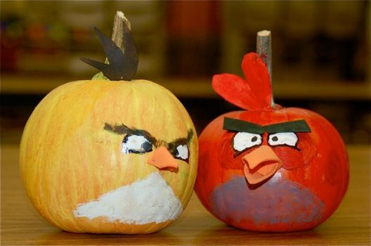 Angry bird pumpkins by SeaSpryte