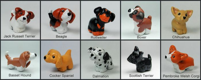 Mini Pups Breed Sculptures by LeiliaClay
