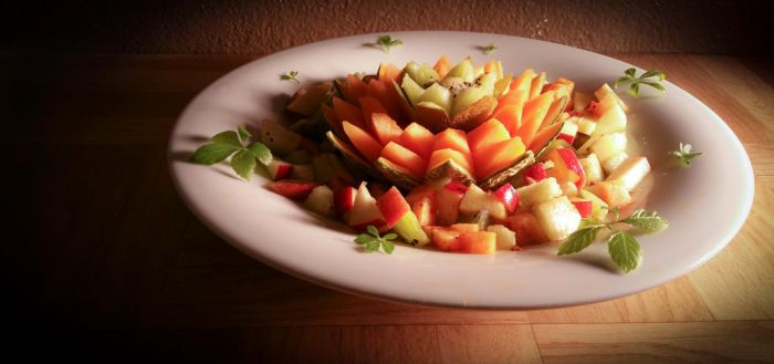 FoodCarving - Melon and Kiwi Flower by XResch