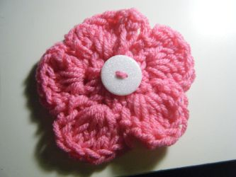 Pink crochet flower by Bella-Who-1